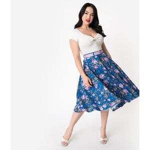 Hell Bunny Violetta Floral 50s Circle Skirt